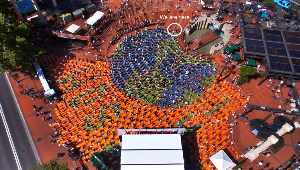 Over 800 yoga mats and participants (courtesy Chris Guillebeau)